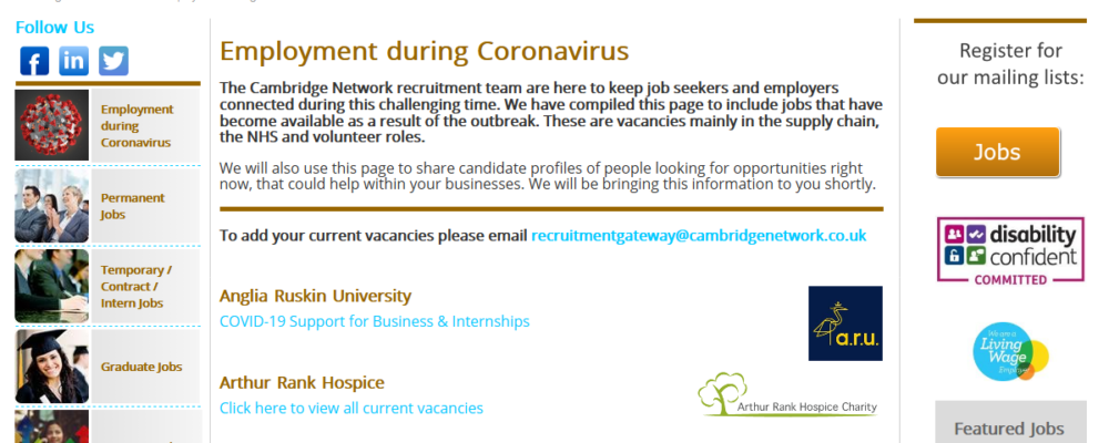 Employment During Coronavirus – Cambridge Network